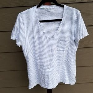 Madewell Tops - Madewell Whisper Cotton Striped V Neck Tee Top
